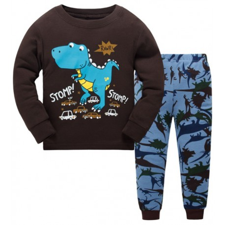 Pyjama dinosaure bleu et marron