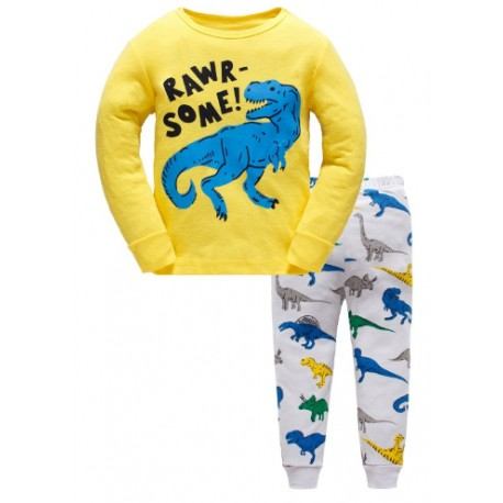Pyjama Dinosaure jaune et blanc